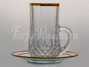 """Набор для чая """"Лонгшамп золотой ободок"""" чашка и блюдце на 6 перс. 12 пред."""