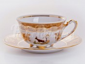"""Набор для чая """"Мария - Охота медовая"""" чашка 200 мл и блюдце на 6 персон 12 предметов"""