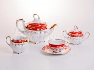 """Сервиз чайный """"Мария - Лист красный"""" на 6 персон 15 предметов"""