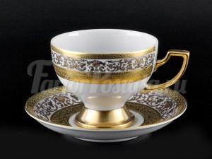 """Набор для чая """"Люксус белый""""(чашка170мл.+блюдце) на 6перс.12пред."""