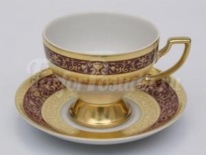 """Набор для чая """"Люксус красный""""(чашка170мл.+блюдце) на 6перс.12пред."""