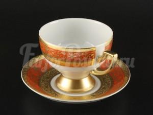 """Набор для чая """"Люксус оранжевый""""(чашка170мл.+блюдце) на 6перс.12пред."""