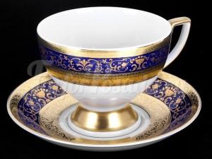 """Набор для чая """"Люксус синий""""(чашка170мл.+блюдце) на 6перс.12пред."""