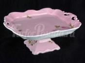 """Блюдо """"Алвин розовый 6076"""" 21см. квадратное на ножке"""