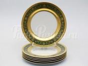 """Набор тарелок """"Люксус зеленый"""" 26см. 6шт."""