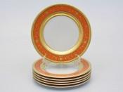 """Набор тарелок """"Люксус оранжевый"""" 17см. 6шт."""