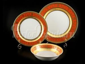 """Набор тарелок для сервировки стола """"Люксус красный"""" 18шт."""