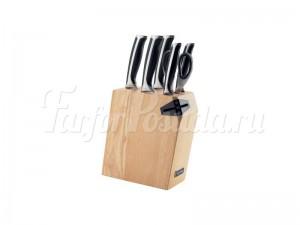 Набор из 5 кухонных ножей ножниц и блока для ножей с ножеточкой Ursa