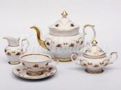 """Сервиз чайный """"Венеция Роза золотая"""" на 6перс.15пред."""