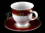 """Набор для чая """"Верона красная""""(чашка200мл.+блюдце) на 6перс.12пред."""