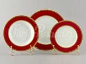 """Набор тарелок для сервировки стола """"Верона красная"""" 18шт."""