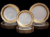 """Набор тарелок для сервировки стола """"Лента золотая матовая1"""" 18шт."""