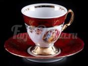 """Набор для кофе мокко """"Мадонна красная""""(чашка110мл.+блюдце) на 6перс."""