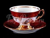 """Набор для чая """"Мадонна красная""""(чашка200мл.+блюдце) на 6перс."""