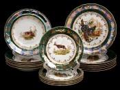 "Набор тарелок для сервировки стола ""Охота зеленая"" 18шт."