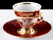 """Набор для кофе мокко """"Роза красная""""(чашка100мл.+блюдце) на 6перс.12пред."""