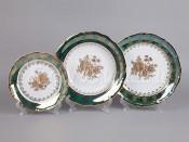 """Набор тарелок для сервировки стола """"Роза зеленая"""" 18шт."""