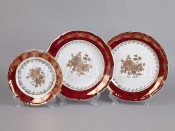 "Набор тарелок для сервировки стола ""Роза красная"" 18шт."