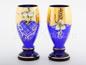 """Набор бокалов для воды """"Лепка синяя Арабский"""" 2шт."""