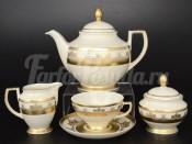 """Чайный сервиз на 6 персон 15 предметов """"Cream-SAPHIR Gold"""""""