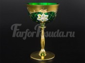 """Набор бокалов для мартини """"Лепка зеленая"""" U-R золотая ножка"""