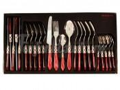 Набор столовых приборов 24 предмета на 6 персон Аладдин (бордовый/серебро)