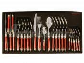 Набор столовых приборов 24 предмета на 6 персон Самарканд (бордовый/серебро)