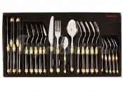 Набор столовых приборов 24 предмета на 6 персон Самарканд (чёрный/золото)