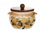 Банка для сыпучих продуктов с деревянной крышкой (большая)  Итальянские лимоны