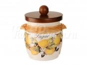 Банка для сахара с деревянной крышкой Итальянские лимоны