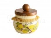 Банка для кофе с деревянной крышкой Итальянские лимоны