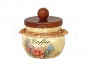 Банка для сыпучих продуктов с деревянной крышкой (кофе) Элианто