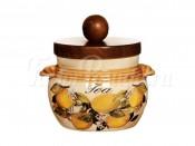 Банка для чая с деревянной крышкой Итальянские лимоны
