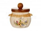 Банка для сыпучих продуктов с деревянной крышкой (чай) Весна