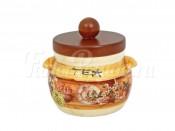 Банка для сыпучих продуктов с деревянной крышкой (чай) Кантри