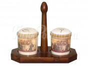 Набор для специй на деревянной подставке Натюрморт