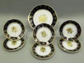 """Сервиз для торта 7 предметов с тарелками 17 см """"Кобальт золотая роза Мэри-Энн"""""""