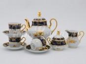 """Чайный сервиз """"Кобальт золотая роза Мэри-Энн"""" 6 персон 15 предметов"""