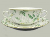 """Набор чашек для супа с блюдцем. 0.35 л 6 шт. """"Зеленые листья Мэри-Энн"""""""