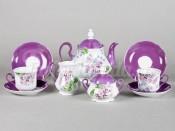 """Чайный сервиз """"Лиловые цветы Мэри-Энн"""" 6 персон 15 предметов"""