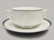 "Набор чашек для супа с блюдцами 6 шт 0.30 л ""Отводка платина Сабина"""