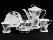 """Чайный сервиз """"Черные розы Светлана"""" на 6 персон 15 предметов"""