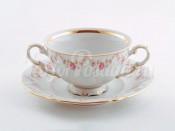 """Чашка для супа с блюдцем 2 ручками 0.35 л """"Мелкий цветок Соната"""""""