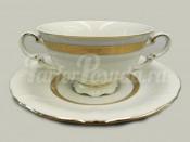 """Чашка для супа с блюдцем 2 ручками 0.35 л """"Золотая лента Соната"""""""