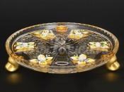 Блюдо для торта на 3-х ножках 18 см Хрусталь золото