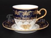 """Набор чайных пар 6 шт 2 """"Роза золотая кобальт"""" ОФ677/G"""