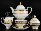 """Чайный сервиз на 6 персон 15 предметов """"Toronto White Black Gold"""""""