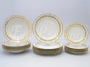 """Набор тарелок для сервировки стола """"Роспись золотая 849"""" 18шт."""