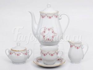 """Кофейный сервиз """"Мелкий цветок Верона"""" 6 персон 15 предметов"""