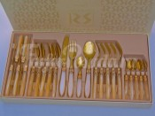 """Набор столовых приборов """"Ривадосси Лаура"""" бежевые золото на 6 персон 24 предмета"""